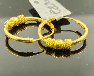 22k Earrings Solid Gold Ladies Jewelry Simple Hoops with Beads Insert E8205