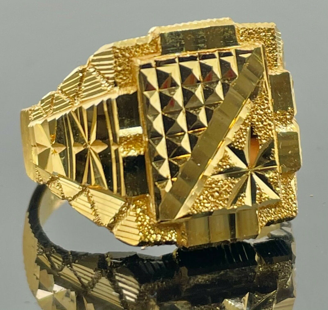 22k Ring Solid Gold Men Jewelry Simple Square Signet Geometric Design R2098z