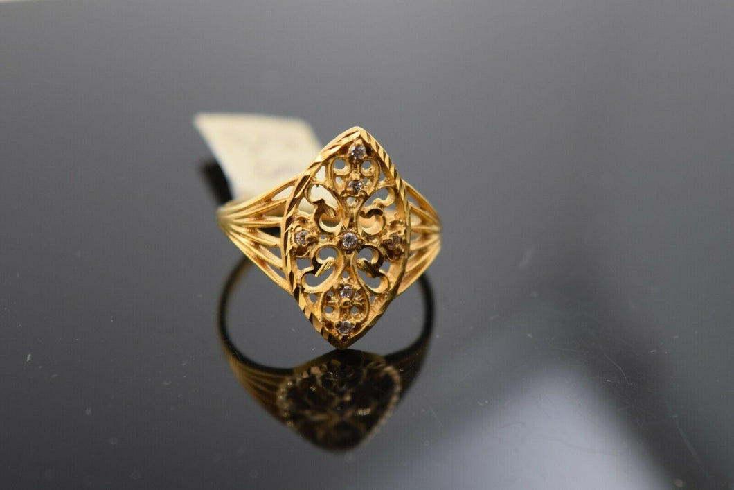 22k Ring Solid Gold Ring Ladies Jewelry Modern Floral Geometric Design R1782