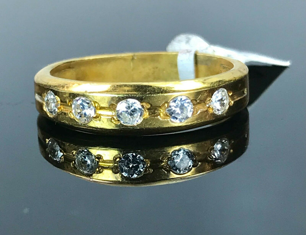 22k Ring Solid Gold ELEGANT Charm Ladies Channel Band SIZE10.5