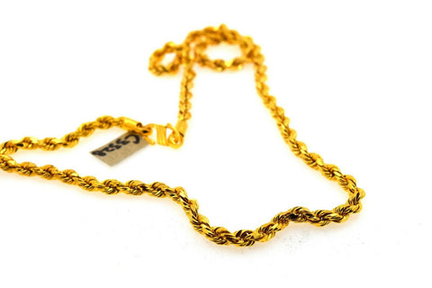 22k Yellow Solid Gold Chain Necklace Classic Rope Design C3328 - Royal Dubai Jewellers