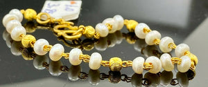 22k Bracelet Solid Gold Children Jewelry Simple Pearl and Beads Design CB1156
