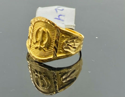 22k Ring Solid Gold Children Jewelry Classic Religious Sikh khanda Design R247