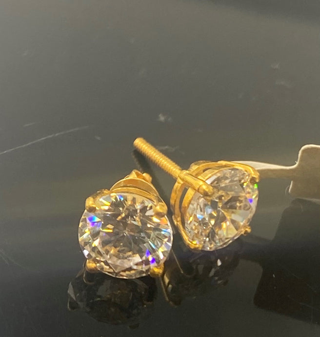 22k Earring Solid Gold Ladies Simple Stud Solitaire Design E6697 - Royal Dubai Jewellers