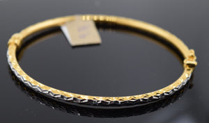 22k Solid Gold Modern Ladies Posh Bangle Two Tone Sparkly Design Br1100