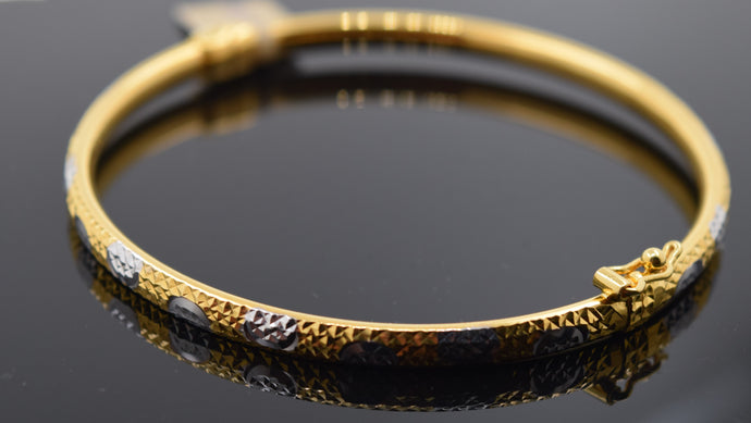 22k Solid Gold Modern Ladies Posh Bangle Two Tone Sparkly Design Br1104