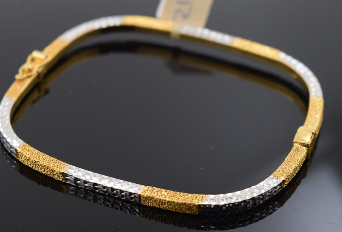 22k Solid Gold Modern Ladies Posh Bangle Two Tone Sparkly Square Design Br1110