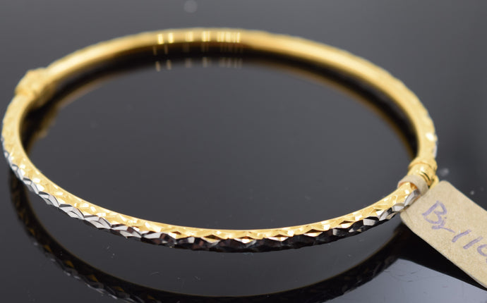 22k Solid Gold Modern Ladies Posh Bangle Two Tone Sparkly Design Br1117