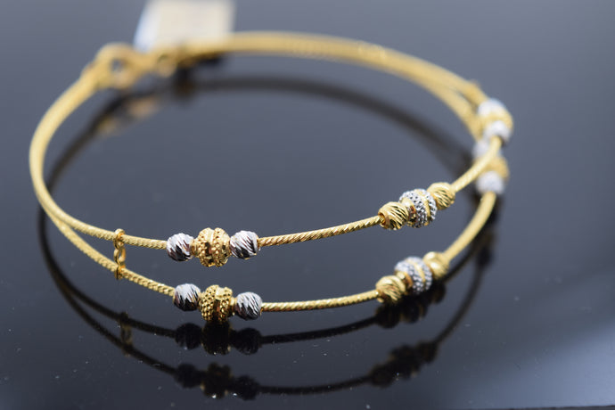 22k Solid Gold Modern Ladies Two Tone Beads Filigree Design Bangle Br177