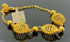 22k Bracelet Solid Gold Ladies Jewelry Elegant Filigree Pattern Design BR1013