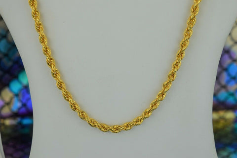 22k Chain Solid Gold Simple Elegant Thick Long Rope Link Design C3571 - Royal Dubai Jewellers