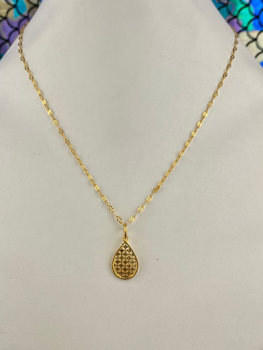 21k Chain Solid Gold Ladies Jewelry Simple Cable with Pendant Design C0389 - Royal Dubai Jewellers
