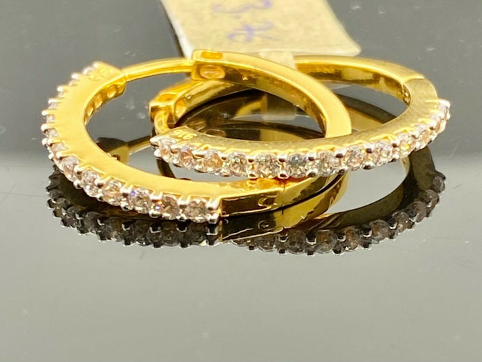 22k Earrings Solid Gold Ladies Jewelry Clip On Hoop Design With Stones E6170