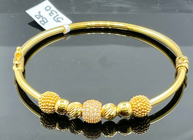 22k Bangle Solid Gold Elegant Charm Unique Exotic Design br5130 - Royal Dubai Jewellers