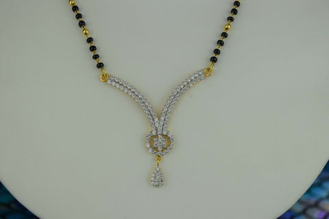 22k Mangalsutra Solid Gold Traditional Ladies Necklace with Floral Pendant C994