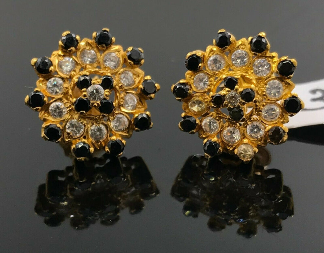 22k Earring Solid Gold Ladies Jewelry Classic Floral Mix Onyx Stone Design E5922