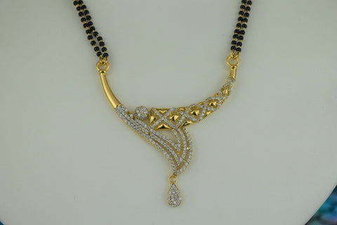 22k Mangalsutra Solid Gold Traditional Ladies Necklace with Floral Pendant C084