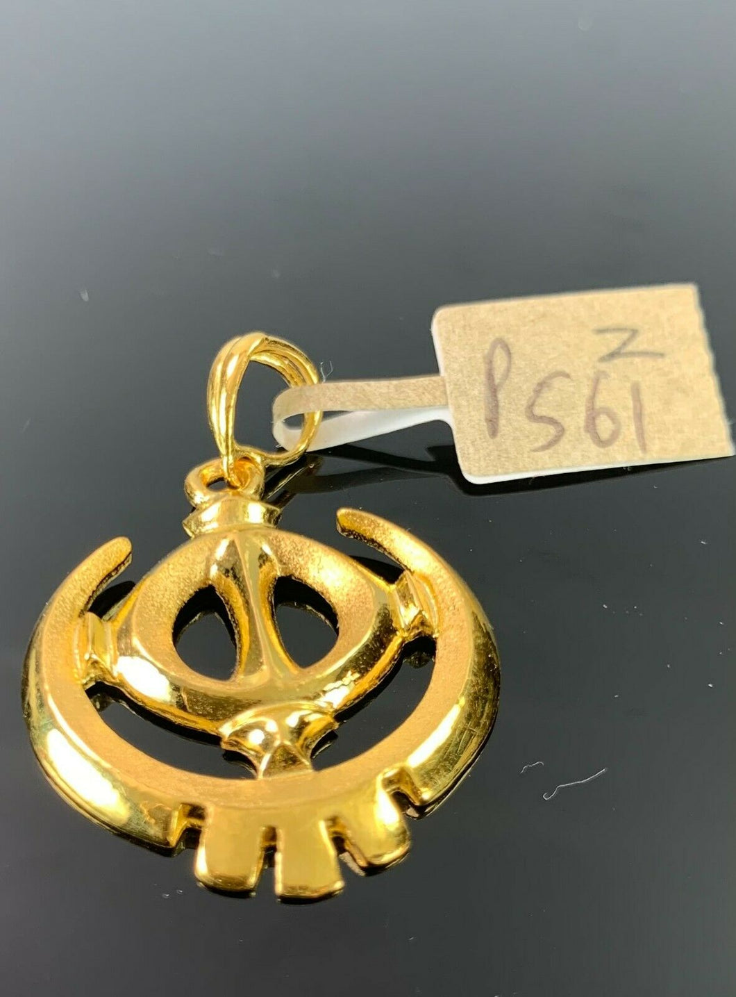22k Pendant Solid Gold Elegant Simple Religious Sikh Khanda Cut Out Design P561z - Royal Dubai Jewellers