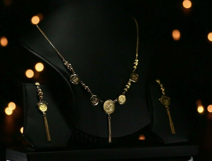 22k Beautiful Solid Gold Classic Rose Coin Necklace Set For Ladies LS251