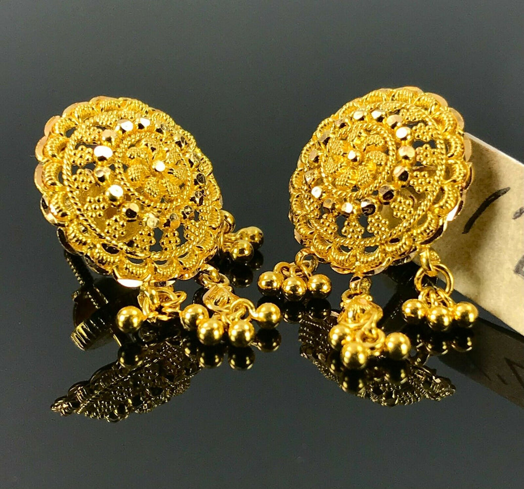 22k Earrings Solid Gold Ladies Jewelry Elegant Filigree Round Design E6622 - Royal Dubai Jewellers