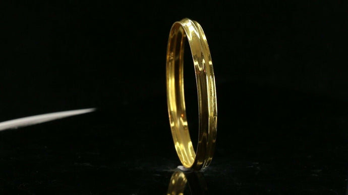22k Bangle Solid Gold Simple Children Plain High Polished Kara Bangle cb1342