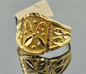 22k Ring Solid Gold Children Jewelry Simple Geometric Floral Design R2182z