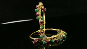 22k Earrings Solid Gold ELEGANT Simple Stones Emerald and Ruby Hoop Design E3916