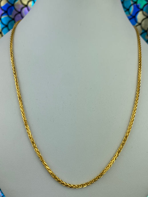 22k Chain Solid Gold Ladies Jewelry Simple Palma Design C0237 - Royal Dubai Jewellers