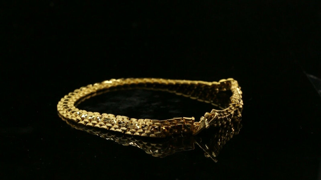 22k Bracelet Solid Gold Simple Exquisite Pattern Design LENGTH 8.8 inch B1057