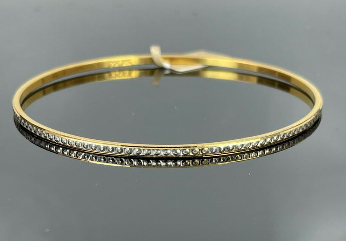 22k Bangle Solid Gold Simple Ladies Two Tone With Infinity Circle Design B387
