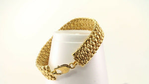 22k Bracelet Solid Gold Simple Charm Diamond Cut Design Size 7.5 inch B3095