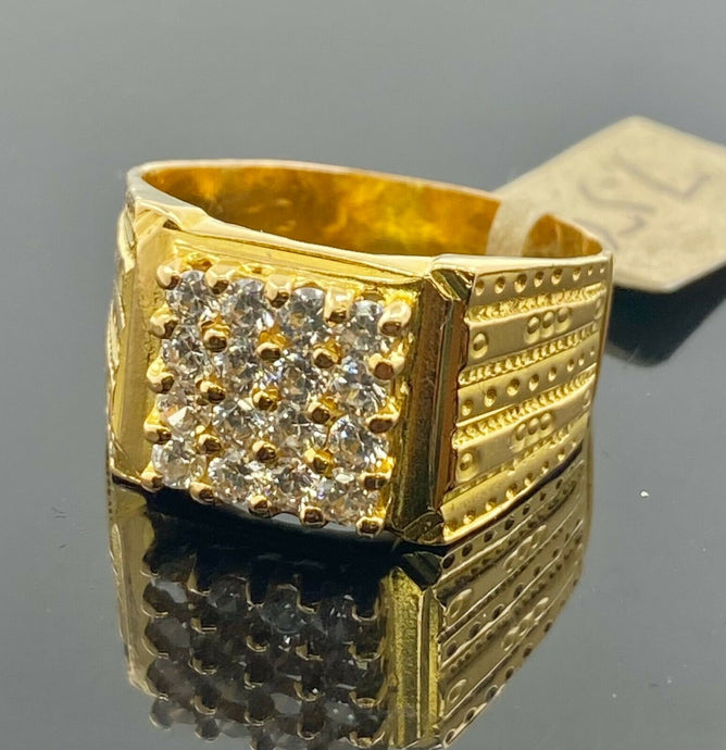 22k Ring Solid Gold Men Jewelry Simple Square Signet Design with Stones R2063z - Royal Dubai Jewellers