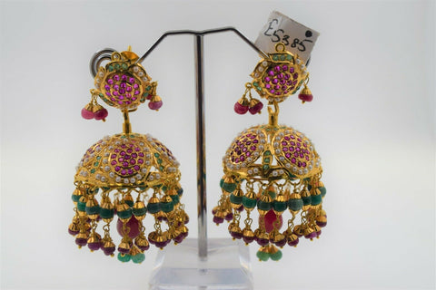 22k Earring Solid Gold Ladies Jewelry Classic Mix Stones Jhumki Design E5385 - Royal Dubai Jewellers