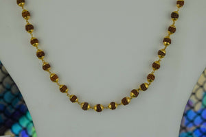 22k Chain Solid Gold Ladies Necklace Classic Mala Beads Design C3569 - Royal Dubai Jewellers