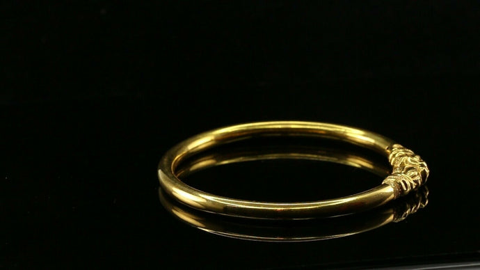 22k Bangle Solid Gold Simple Charm Classic Kada Design Size 2.7 inch B1087