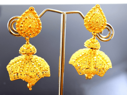 22k Jewelry Solid Gold ELEGANT LONG JHUMKE Earrings E1085 - Royal Dubai Jewellers