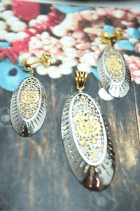 22k 22ct Solid Gold UNIQUE ITALIAN FLOWER LONG Pendant SET FREE BOX s75 - Royal Dubai Jewellers