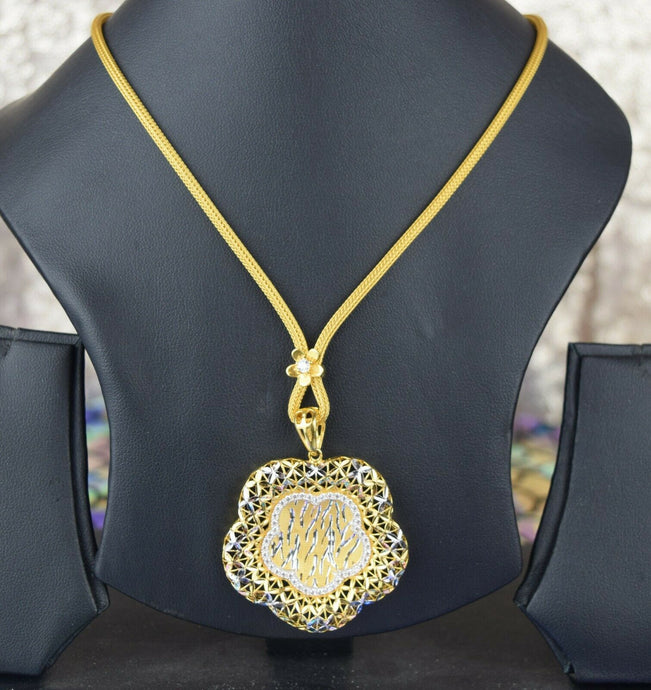 22k Necklace Set Beautiful Solid Gold Ladies Two Tone Floral Design cs234