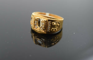 "22k Ring Solid Gold ELEGANT Charm Mens Horse Shoes SIZE 11 ""RESIZABLE"" r2575mon"