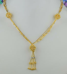 22k Chain Solid Gold Simple Elegant Filigree Floral Beads Link Design C064 - Royal Dubai Jewellers