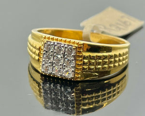 22k Ring Solid Gold Men Jewelry Simple Square Signet Design with Stones R2167 - Royal Dubai Jewellers