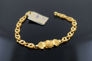 22k Solid Gold ELEGANT BABY CHILDREN BRACELET Simple Geometric Design b9922