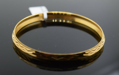 22k Solid Gold ELEGANT BABY CHILDREN BANGLE Diamond Cut Kara cb1374