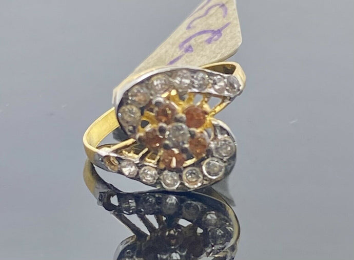 22k Ring Solid Gold Children Jewelry S Shape Stone Encrusted Design R2347z