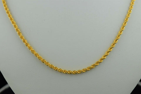 22k Chain Solid Gold Elegant Simple Rope Link Design C0145 - Royal Dubai Jewellers