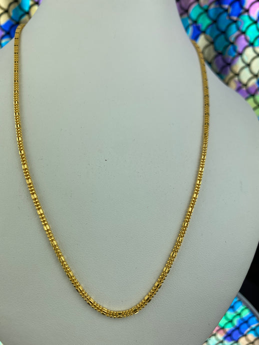 22k Chain Solid Gold Ladies Jewelry Simple Square Popcorn Design C0240 - Royal Dubai Jewellers