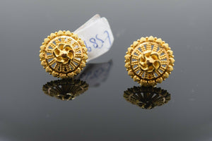 22k Earrings Solid Gold Ladies Jewelry Classic Filigree Round Shape Design E5893
