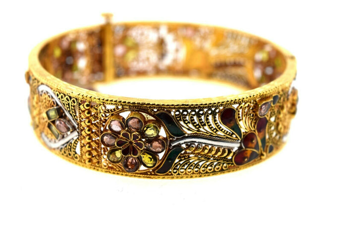 22k Solid Gold Ladies Bangle Intricate Floral Design with Enamel br116