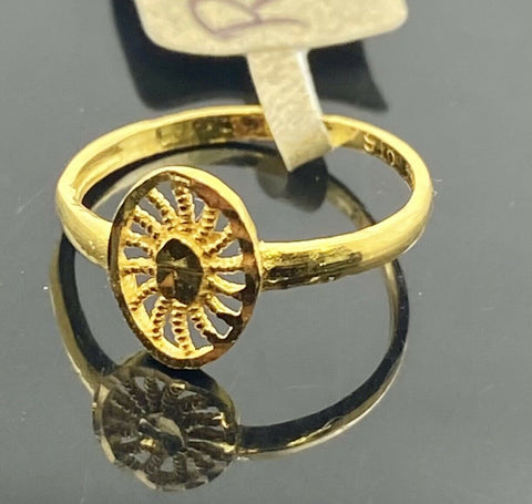 22k Ring Solid Gold Children Jewelry Simple Geometric Design R2119z