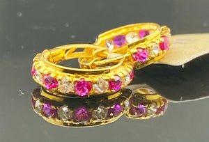 22k Earrings Solid Gold Ladies Jewelry Simple Hoops with Duel Color Stone E6183